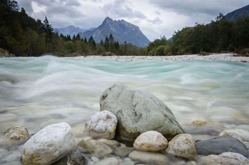 Bovec Cloud Flow  Idyllic Landscape Mountain Nature Non-urban Scene Outdoors River Rock - Object Scenics Slovenia SoCal Tourism Tourist Destination Tranquil Scene Travel Triglav National Park Water