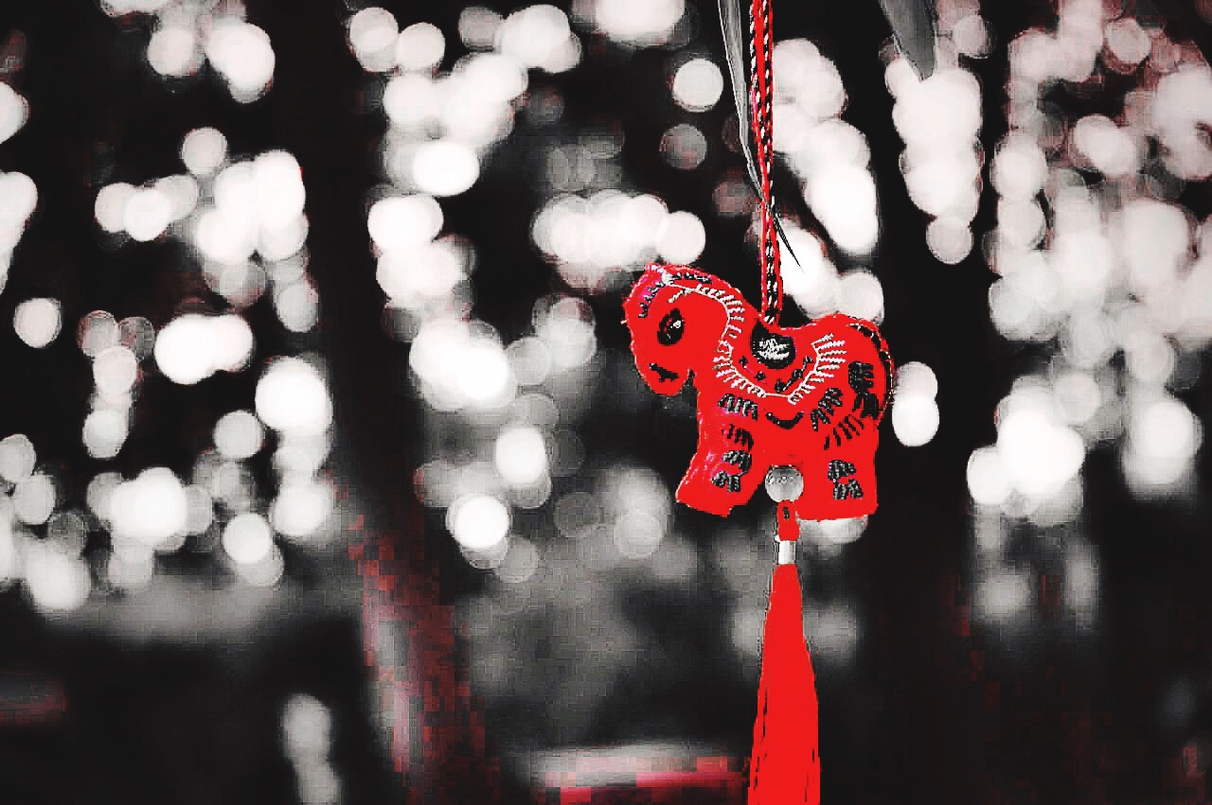 red, focus on foreground, close-up, hanging, no people, outdoors, day, selective focus, heart shape, white color, tree, decoration, season, pole, protection, celebration, nature, safety, christmas, love