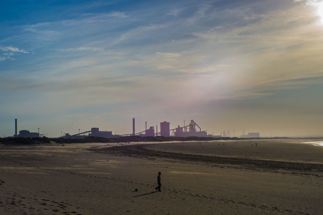 Beach Cloud - Sky Day One Person Real People Sand Sea Sky Redcar Teesside Teesside Steel
