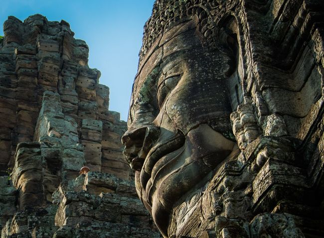 Smile Of Angkor Archaeology Low Angle View Angkor Thom Siem Reap, Cambodia
