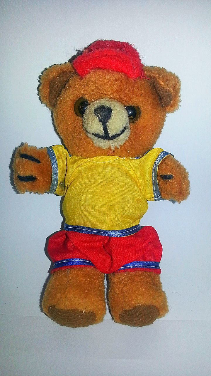 stuffed toy, close-up, childhood, anthropomorphic face, teddy bear, no people, day