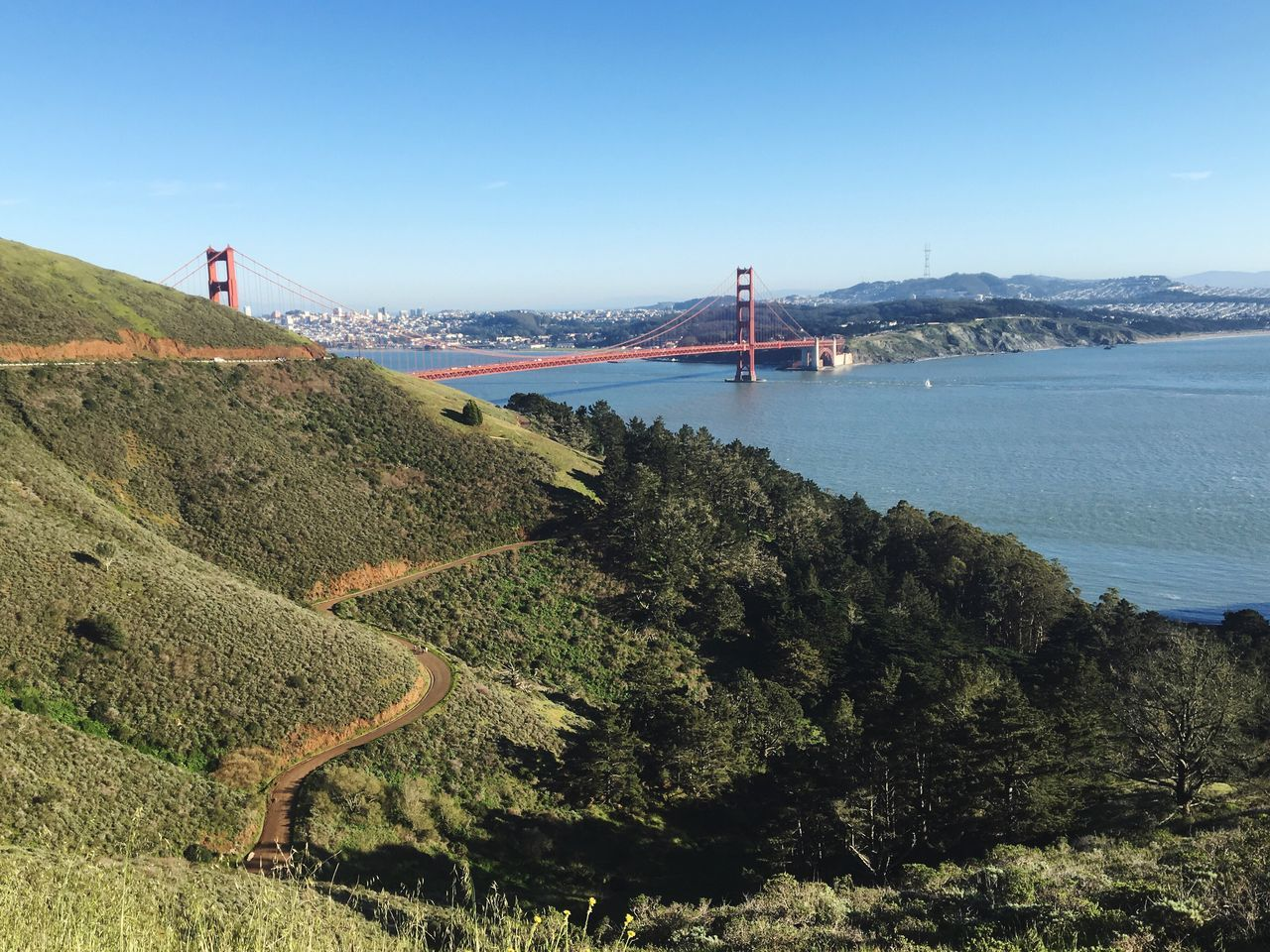 IPhoneography IPhone Photography Iphonephotography Sea Water Clear Sky Built Structure Suspension Bridge Connection Sky Outdoors Architecture Day Beauty In Nature Nature Horizon Over Water Scenics Tree Bridge - Man Made Structure Beach No People Golden Gate Bridge
