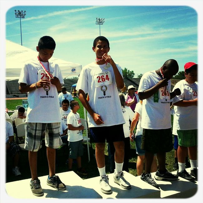 My son getting his medal at the Special Olympics!