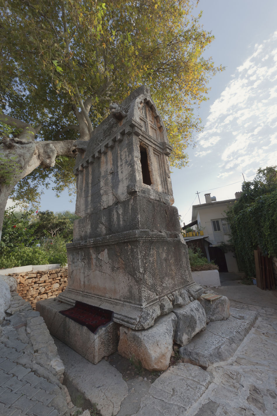 2400 years old lycian tomb in Kas - Kas, Antalya Province, Turkey, Asia Anatolia Ancient Ancient Civilization Antalya Burial Death Grave Graveyard Kas Lycia Maple Tree Memories No People Place Of Worship Religion Sarcophagus Sepulcher Spirituality The End The Past Tomb Tombstone Tradition Tree Turkey