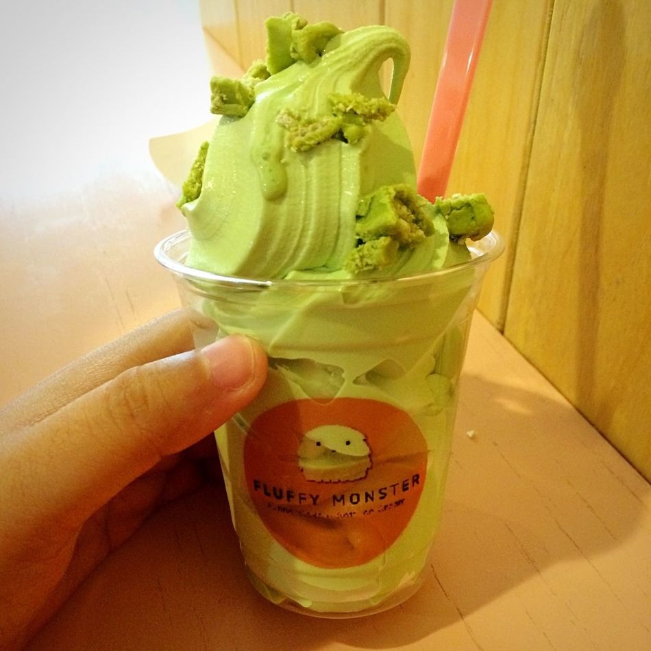 Ice Cream Green Tea Flavor Greentea Flavor with Toppings Greenteakitkat Icecream Jajan Dessert Sweettooth