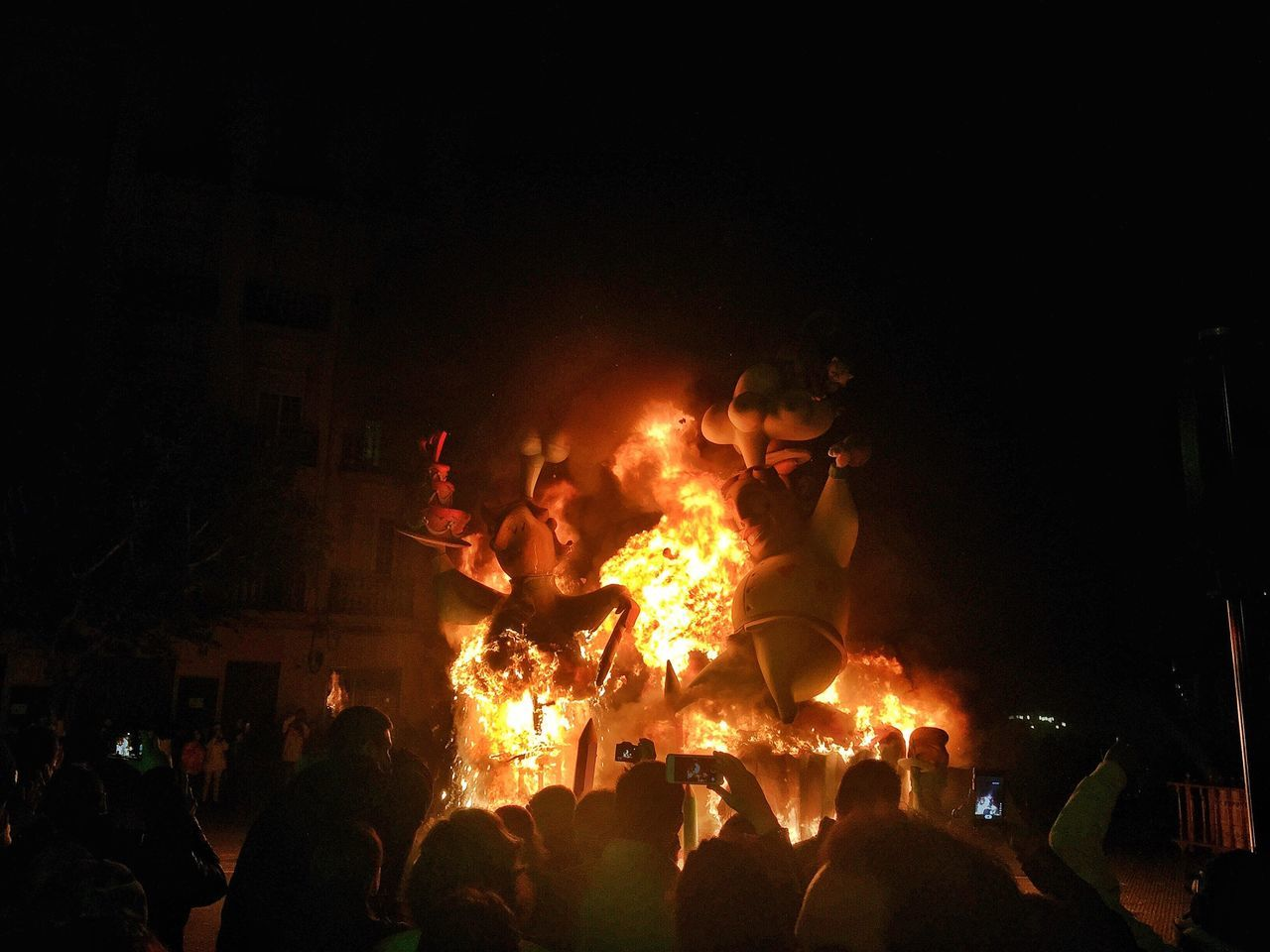 Sculpture Burning During Fallas Festival