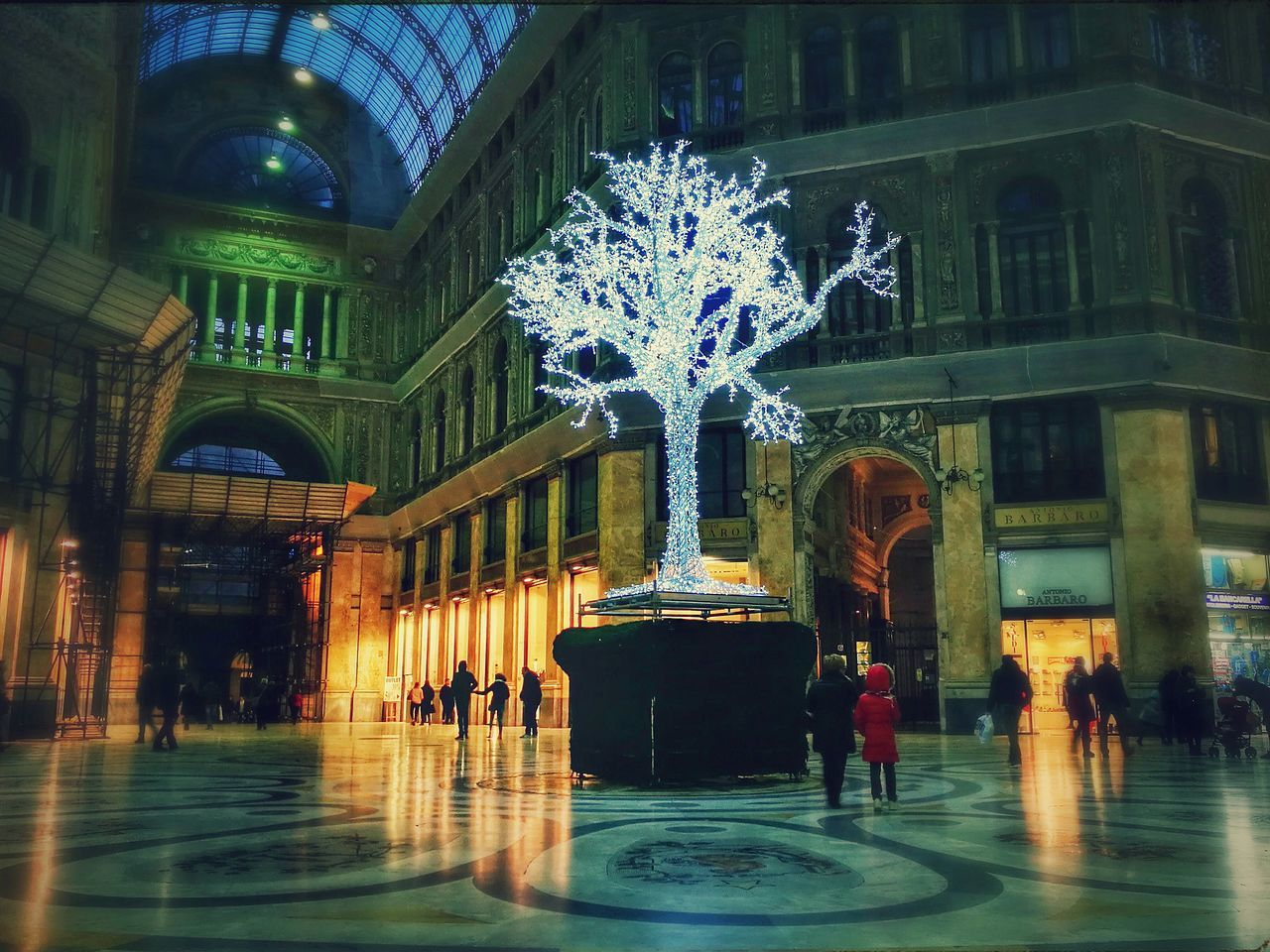 Architecture Built Structure Christmas Tree Christmas Lights Naples, Italy Galleria Umberto Napoli