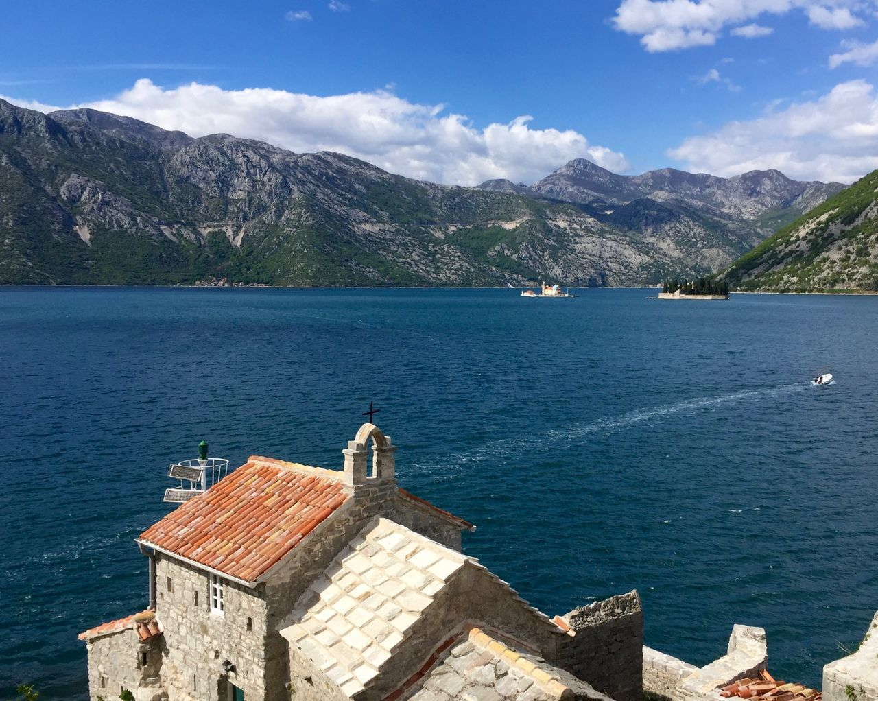 Architecture Beauty In Nature Blu Color Blu Water Blue Sky Built Structure Cherch Mountain No People Sea Water Kotor Bay The Great Outdoors - 2017 EyeEm Awards