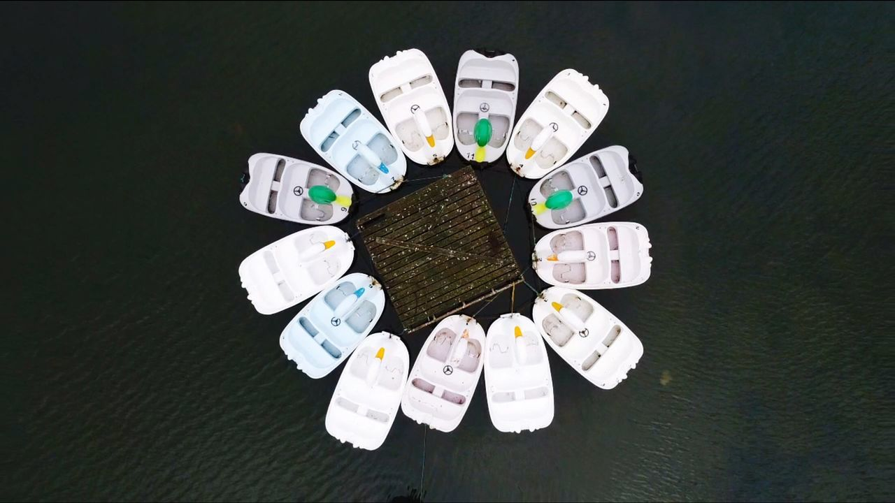 Aerial shot of peddle boats in Southsea directly above boats Drone Fresh on Market 2017