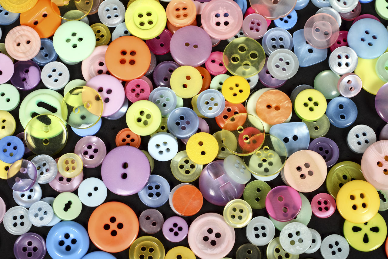 Assortment of buttons Abundance Assortment Bright Button Buttons Choice Colorful Colors Fastener Group Haberdashery Large Group Of Objects Many Multi Colored No People Sewing Item Still Life Variation