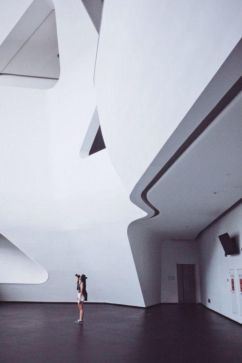 Black And White Girl Guangzhou Opera House Minimalism Urban Landscape Equilibrium Lines