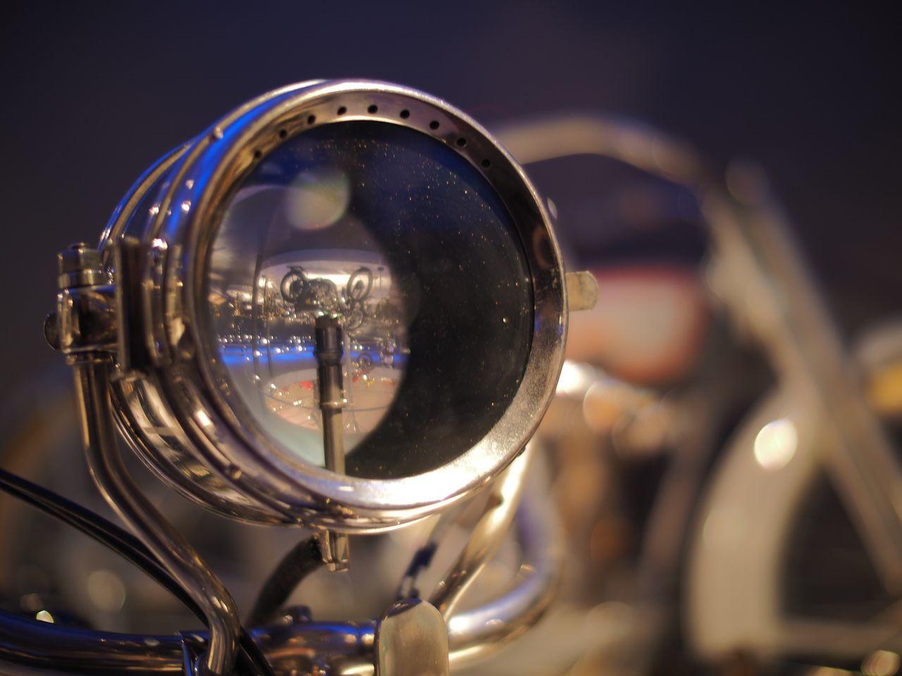 Close-Up Of Headlight At Night