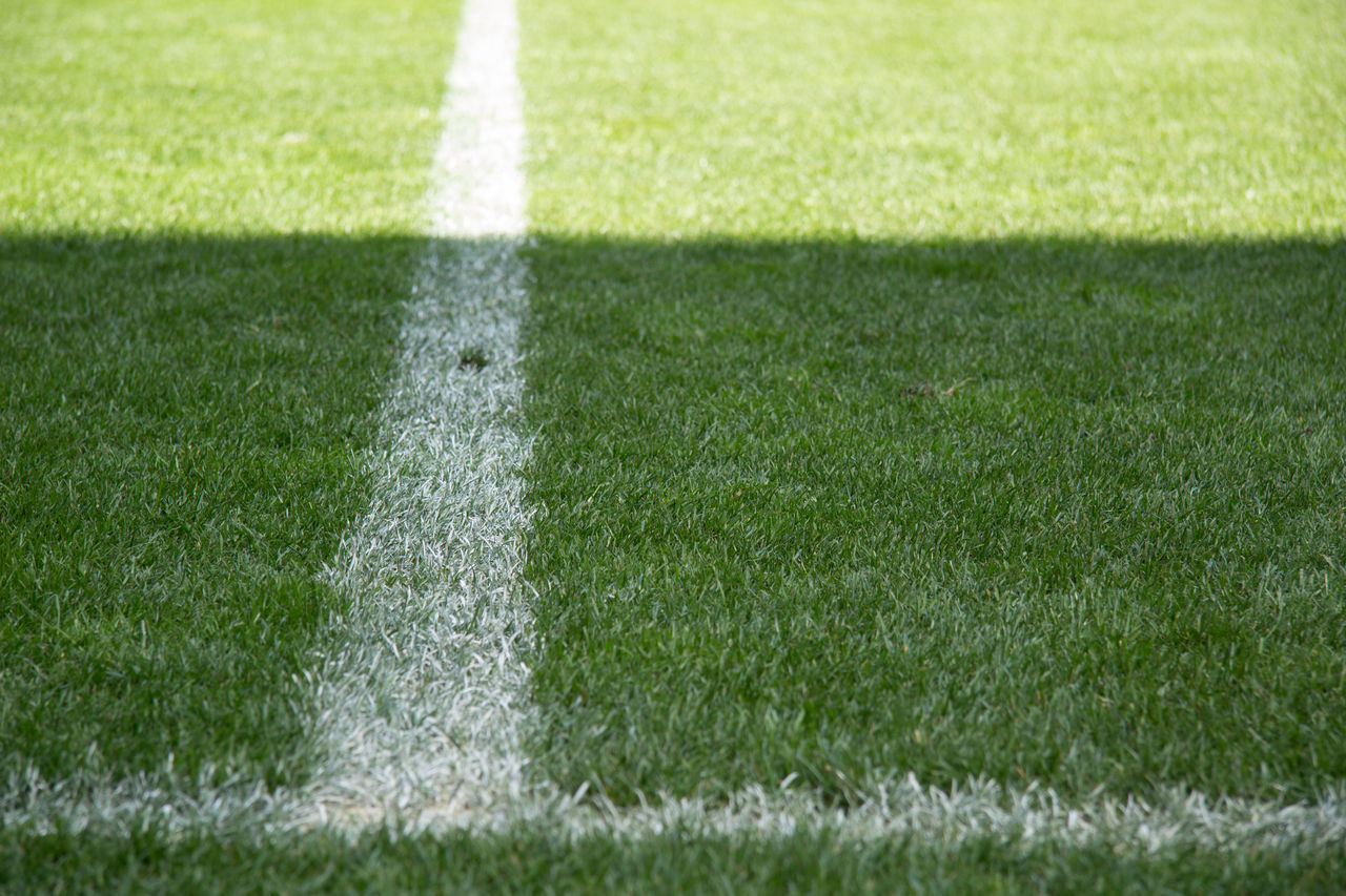 grass, turf, sport, playing field, soccer field, white color, green color, soccer, american football field, outdoors, day, no people, backgrounds, competitive sport, nature, american football - ball, close-up