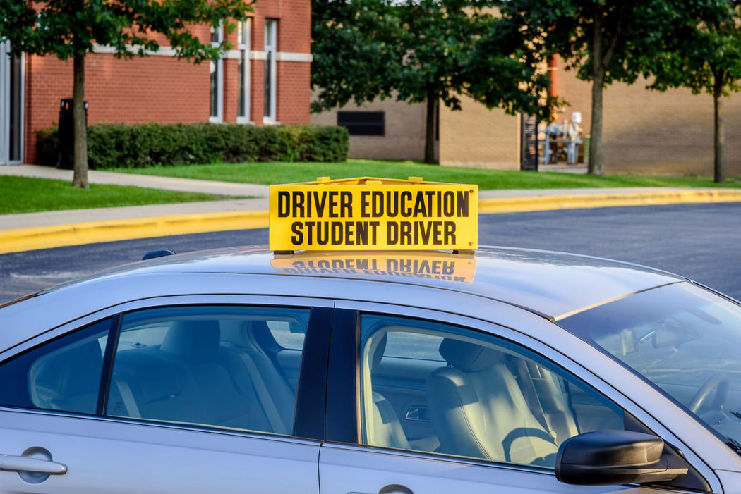 Drivers Ed High School High School Memories Parking Lot Sign Transportation Back To School Building Car Close-up Day Education Empty Fall License No Logos Outdoors Permit Side View Student Driver Summer Text Transportation Vehicle Yellow