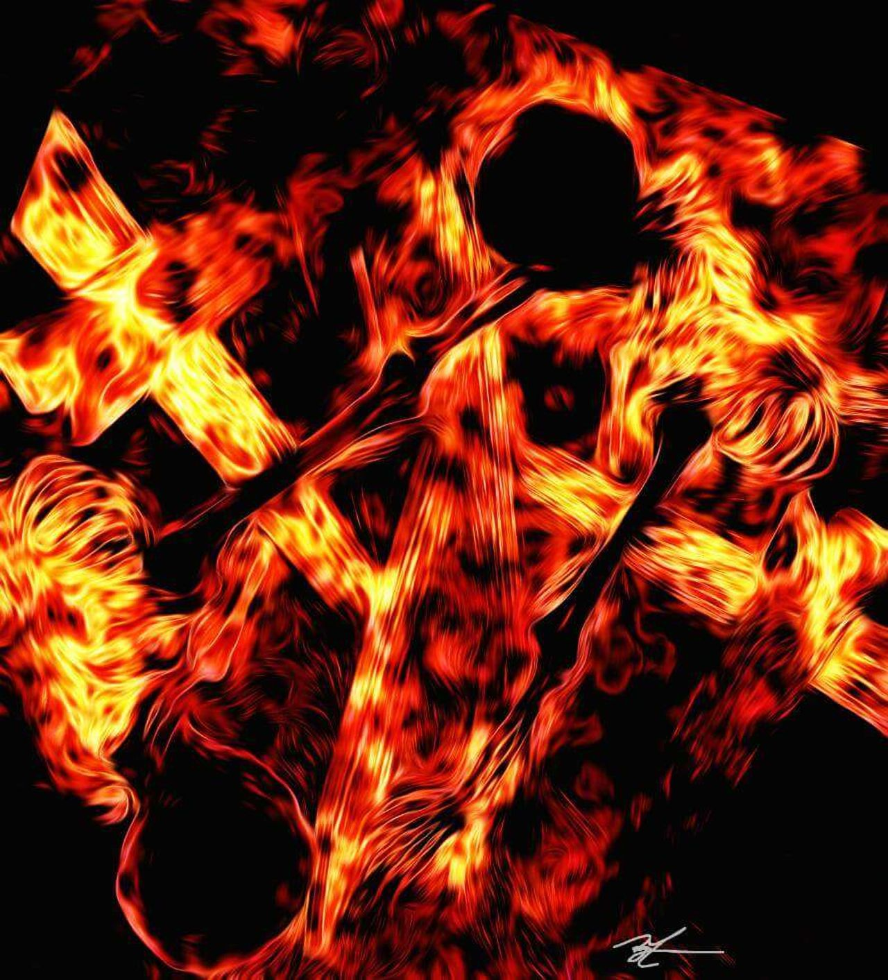 Red Flame Heat - Temperature Black Background Burning No People My Artwork Digital Art Abstract Art