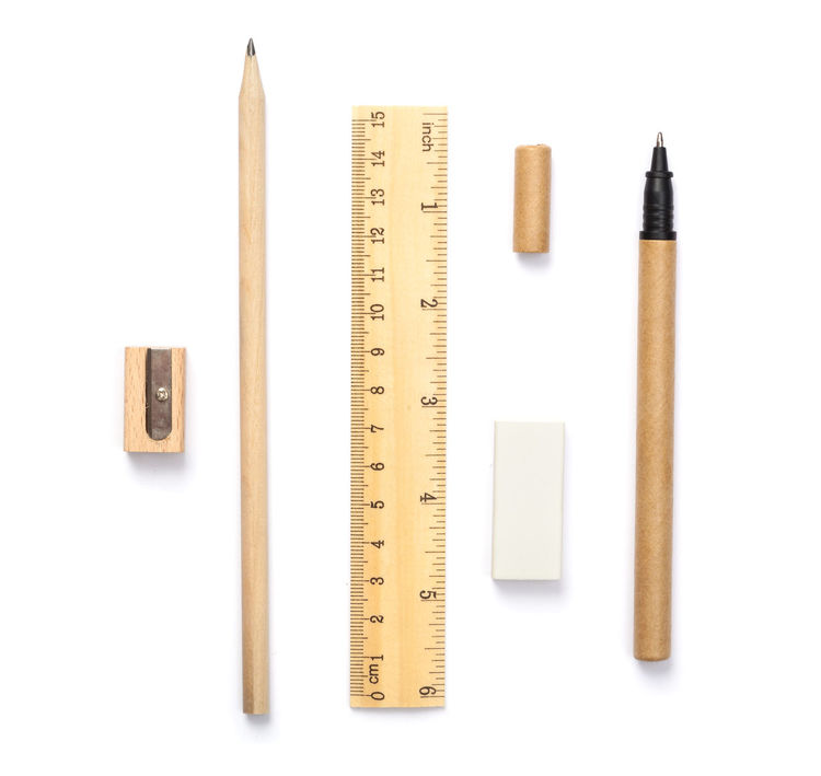 Arrangement Author Drawing Eraser Isolated Pen Pencil Ruler Set Tools Writing