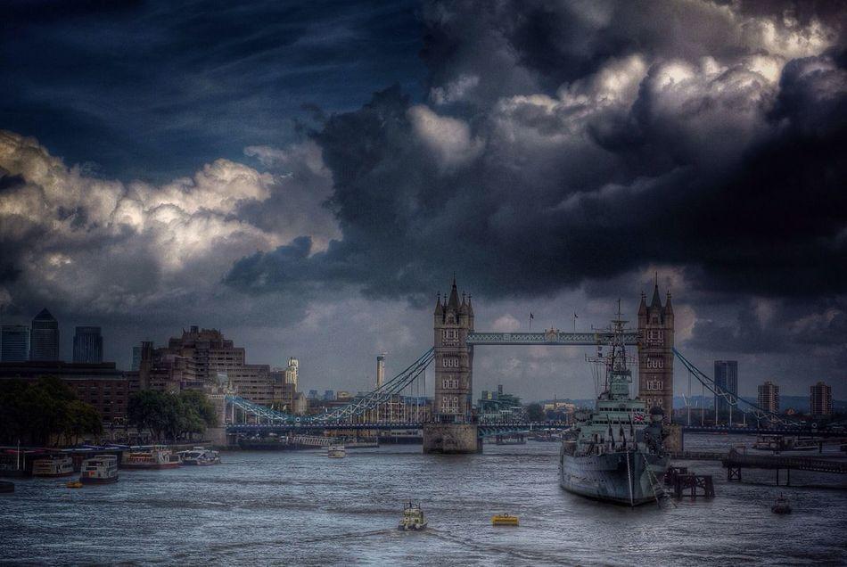 River Thames HMS Belfast Canary Wharf London