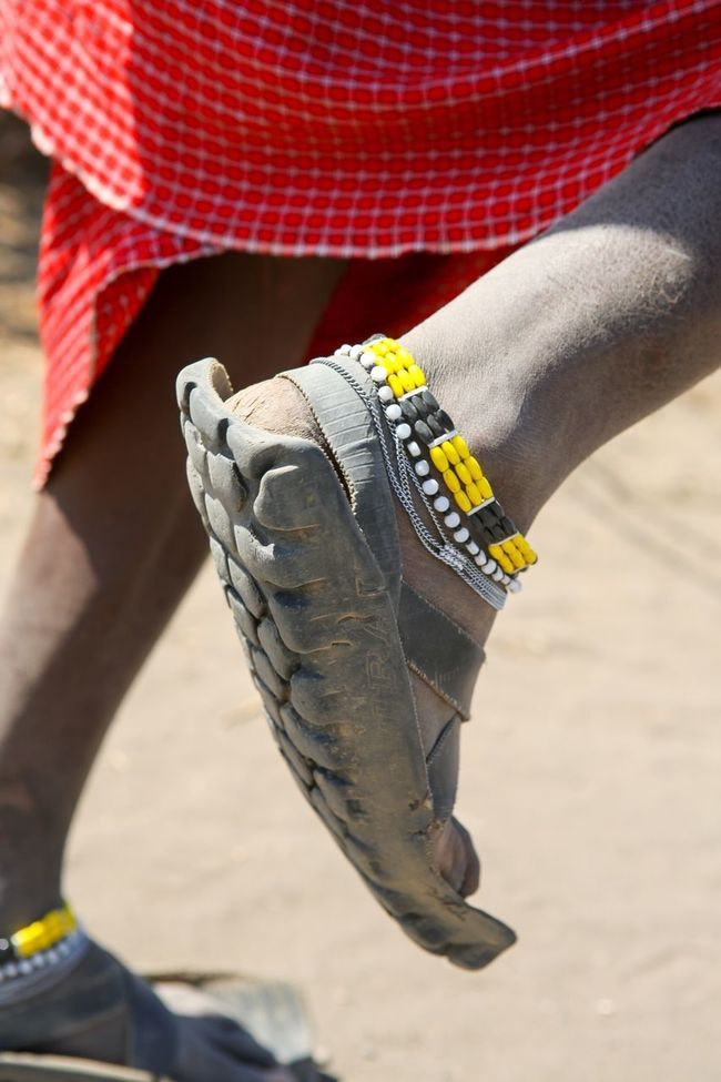 Masai Shoes Tires Low Section Person Shoe Focus On Foreground Human Foot Red Style Fashionable Outdoors Day Lifestyles Masai Village Upcycled Africa Tanzania Jewelry