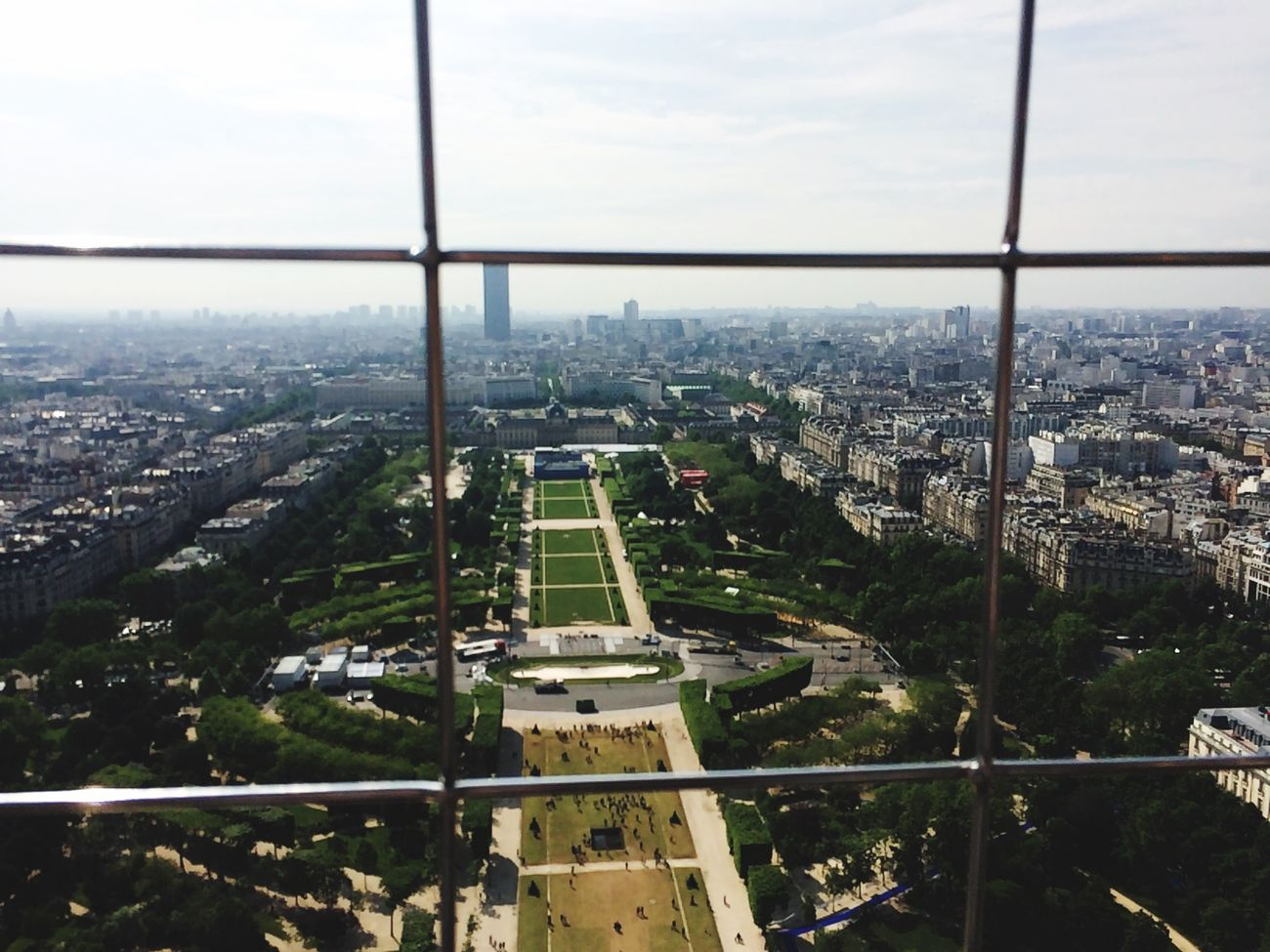 Over looking the Parc du Champ Eiffel Tower Paris
