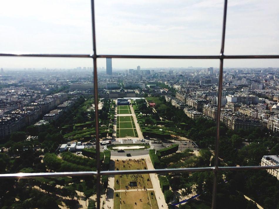 Over looking the Parc du Champ Eiffel Tower Paris