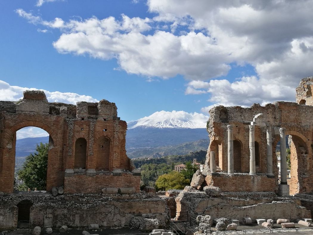 Old Ruin Cloud - Sky Ancient History Architectural Column Ancient Civilization Architecture Travel Destinations Taormina, Sicily 🇮🇹 Teatro Antico Di Taormina Taormina Teatro Ancient Etna Etna, Mountain, Sicily, Etna Volcano Etna