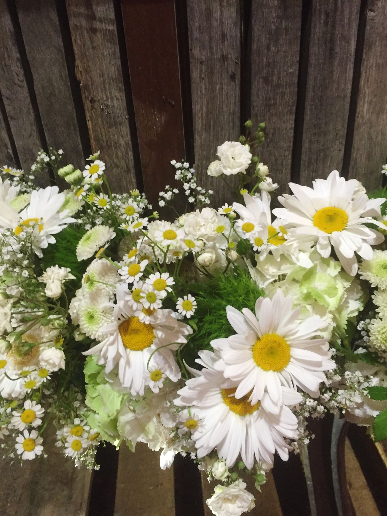 Flower decoration with daisies Flower Beautiful White Color Nature Delicate No People Fragility Outdoors Close-up Day Freshness Flower Arrangement Daisy Blooming Plant Valentine's Day  Bouquet Decoration Copy Space