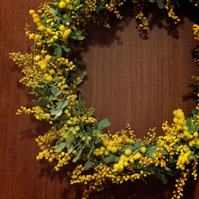 Wreath Mimosa Green Yellow Yellow Flower Spring ミモザ 春 リース