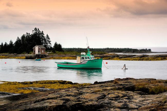 Anchorage Evening Fishboat Lunenburg, NS, Canada Rocks Safeharbour Sunset