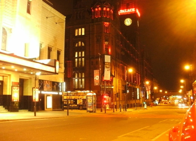 The Palace Theatre and Hotel on Oxford Rd, Manchester, UK. Building Exterior City City Life City Street Evening Manchester Nightphotography Road Street Street Light Theatre Learn & Shoot: After Dark Arts Culture And Entertainment Night Orange Color manchester Illuminated Palace Theatre  Glowing