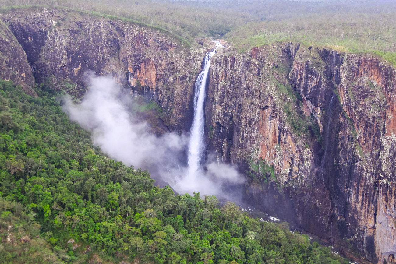 Wallaman Falls is the largest single drop waterfall in Australia, tumbling 305 metres through a rainbow-fringed cloud of mist to a large pool. Far North Queensland, Australia. Photo taken from a helicopter. Girringun National Park. Love Life, Love Photography Beauty In Nature Day Far North Queensland Fnq Girringun National Park Idyllic Landscape Nature No People Outdoors Rainforest Rock Scenics Tourism Tropics Wallaman Falls Water Waterfall Rainforests Wet Tropics World Heritage Cliff Misty Foggy River