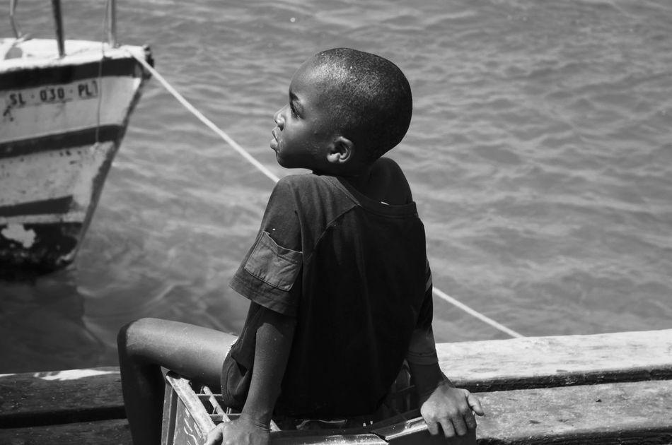 Black And White Portrait Boat Boy Capo Verde Harbour Rear View Sal Island Santa Maria Sea Sitting Summer 2015 Water Wooden Pier