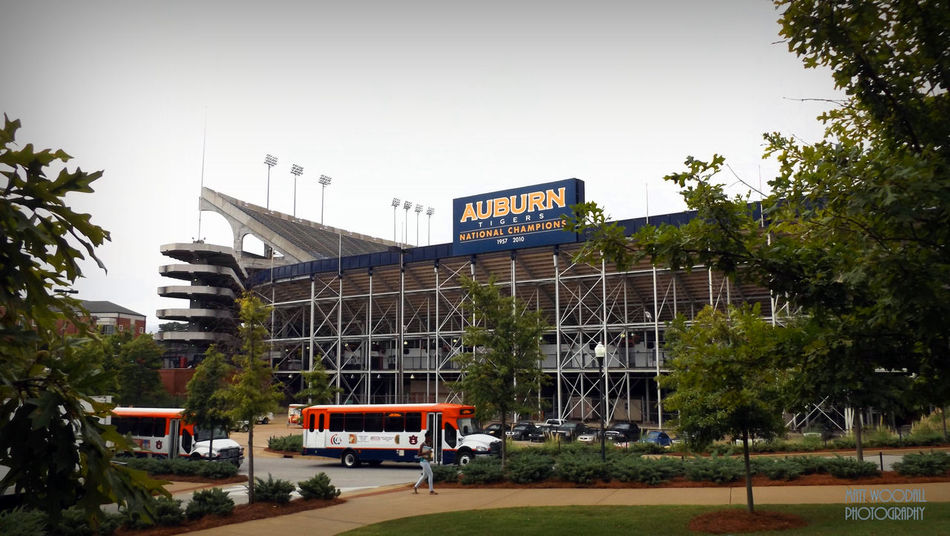 Auburn Tigers, National Champions in 1957 & 2010. Auburn Tigers College College Community College Football Collegefootball Football Stadium Information Sign Stadium