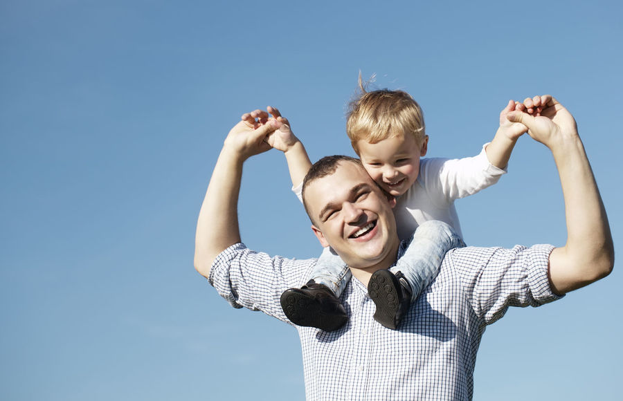 Adult Blue Sky Boy Caucasian Countryside Day Father Healthy Joy Lifestyle Looking Male Man People Piggy Back Piggyback Smile Son Together Young