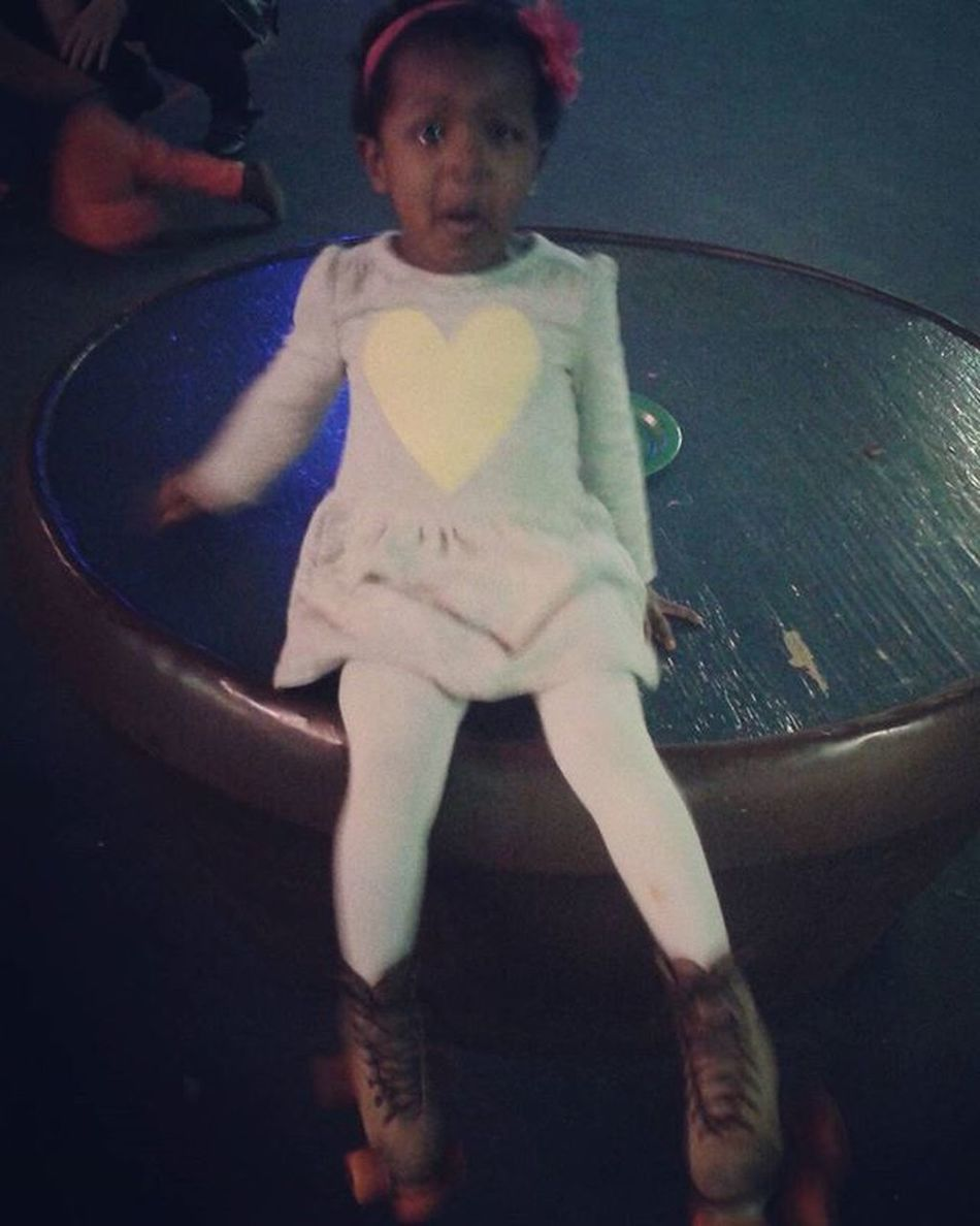 She was so excited and anxious about putting on skates at Imani's birthday party... 5MinutesLater 😒 Ugh ItTookLongerToPutThemOn WalkingLikeACalf or a WomanWhoCantWalkInHeels Sigh ButFirstLetMeTakeAPic YeahSheCried Ohwell Shecutetho LilosFirstSkate LilosWorld