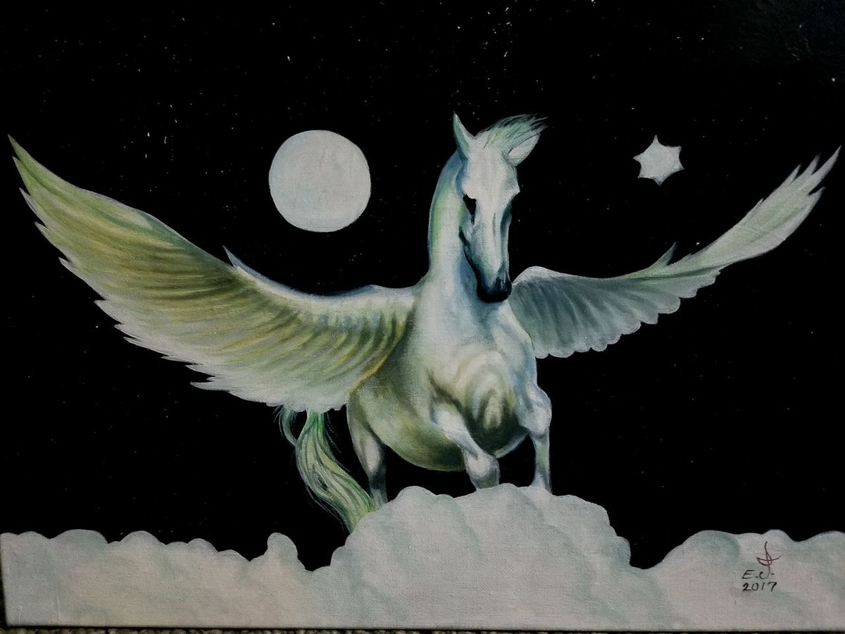 """My dear good friend Andrea post this amazing image while ago, loved it and i asked permission to paint Andrea ok me and here is the flying white horse , Thanks Andrea .oil on canvas 18""""_24"""". Close-up White Horse Portrait Space Flying Over The Clouds Sky Painting Drawing Creativity Art, Drawing, Creativity Art My Art Collection Fine Art Freedom Fine Art Painting Beauty Motion Fantzy Art. Friendship. ♡   Love❤ Koi with My Best Friends ❤"""