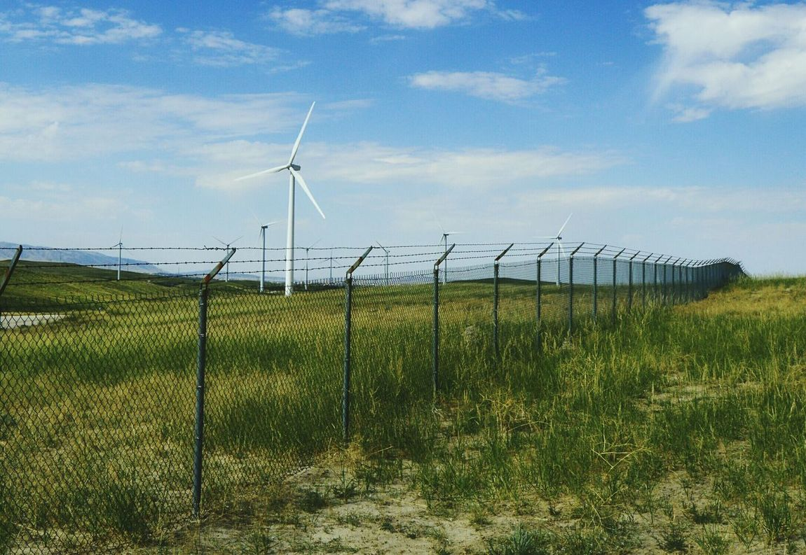 Fenced in Near Casper Wyoming These Are Near Houses Many Wind Turbines Private Property Partly Cloudy Day Check This Out
