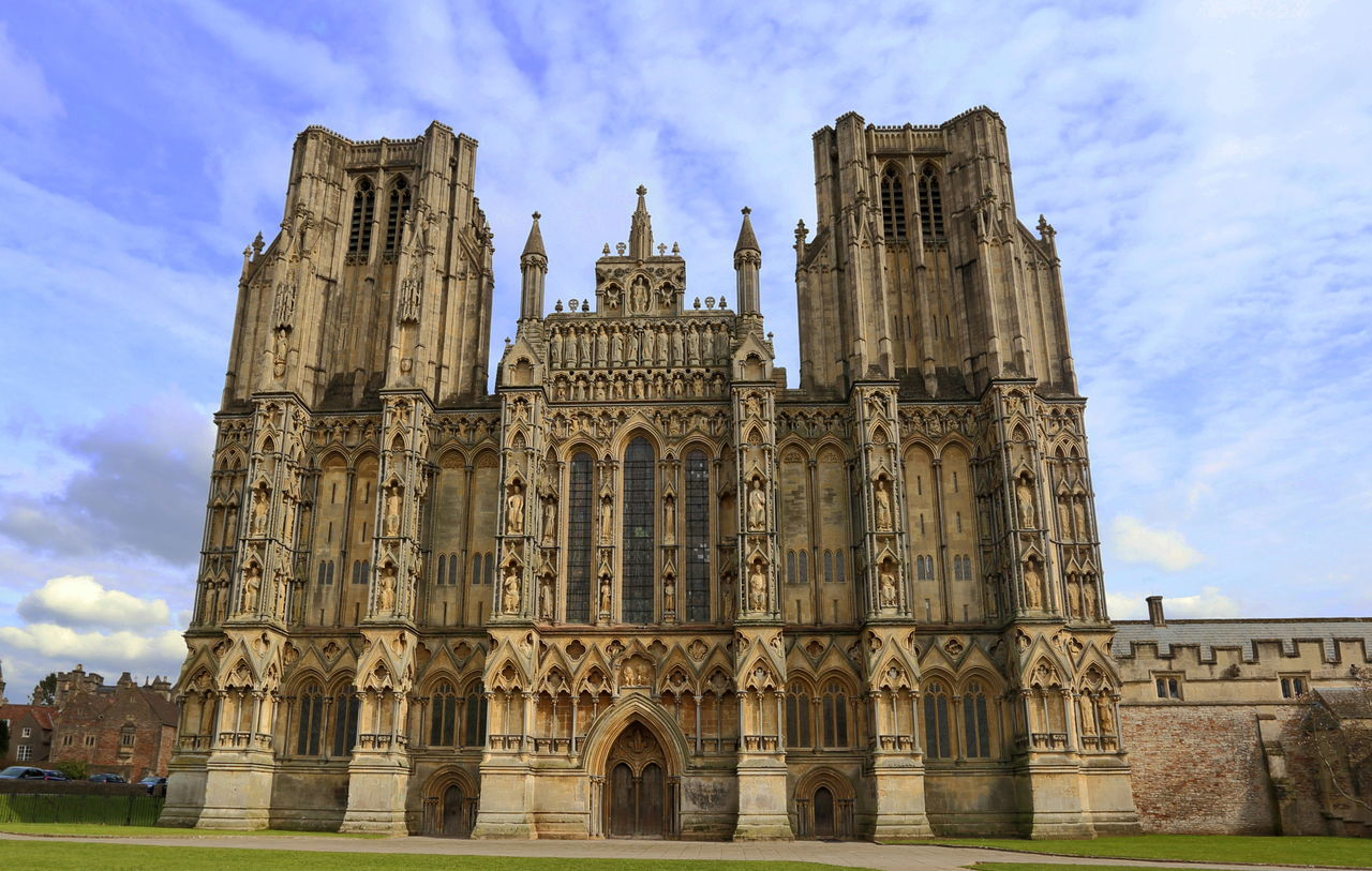 Wells Cathedral Anglican Architecture Building Exterior Built Structure Cathedral Church Of Saint Andrew Church Cloud - Sky England English Famous Place History Somerset Tourism Travel Destinations West Front