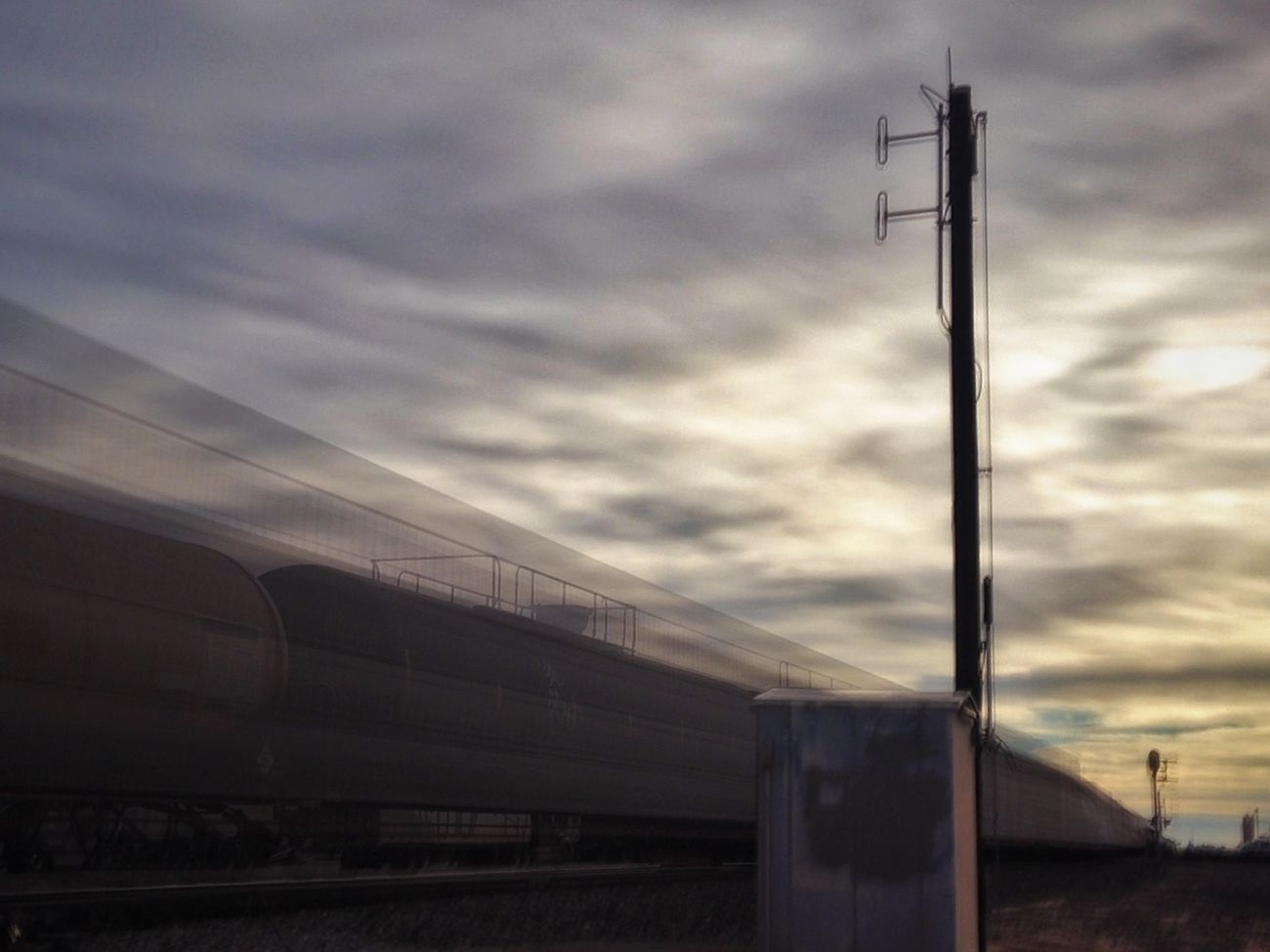 Waiting on a train... Cloud Connection Copy Space Development Dusk On The Move Silhouette Sky Technology Transportation Waiting On A Train
