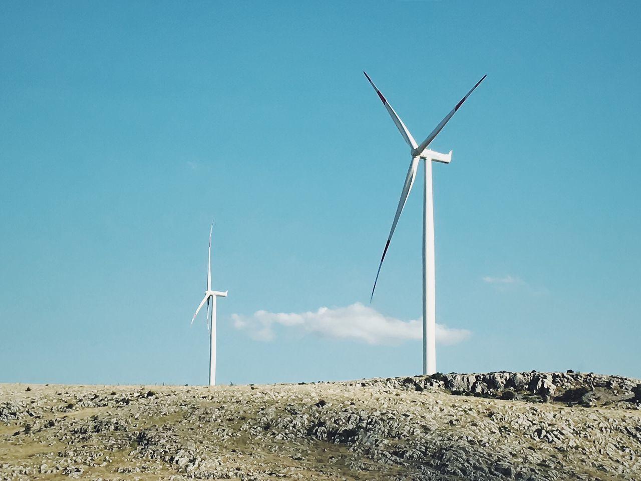 Wind power plant in Dinar, Turkey. Wind Power Turbine Wind Power Plant Blue Blue Sky No People Energy Electricity  Minimalism Minimal Wind Turbine EyeEm Best Shots EyeEm Gallery IPhoneography Adobe Photoshop Express Afyon