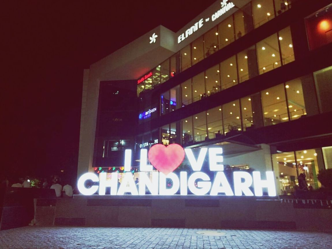 Feeling of for the city Night Illuminated No People Built Structure Outdoors Architecture City Marketplace City Beautiful Chandigarh ElanteMall EyeEm Selects