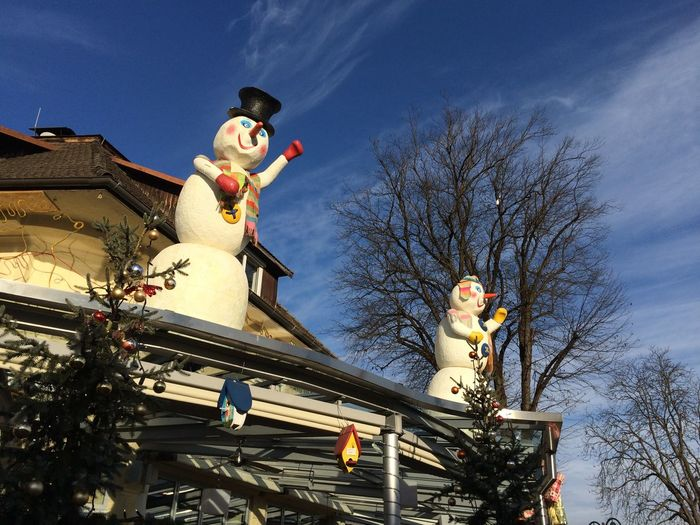Building Exterior Christmas Decoration Low Angle View Outdoors Sky Snowman Snowmen On The Roof