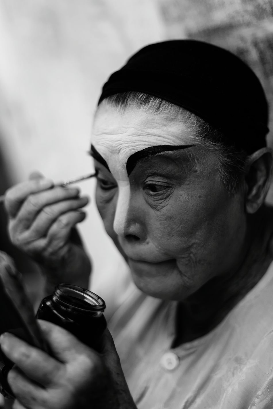 Shades Of Grey Portrait Of A Teochew Opera Singer Asia Art Form Traditional Culture Makeup Artist Painted Face Lady Chinese Opera Troupe Asian Senior Woman Black And White Elderly Street Performer