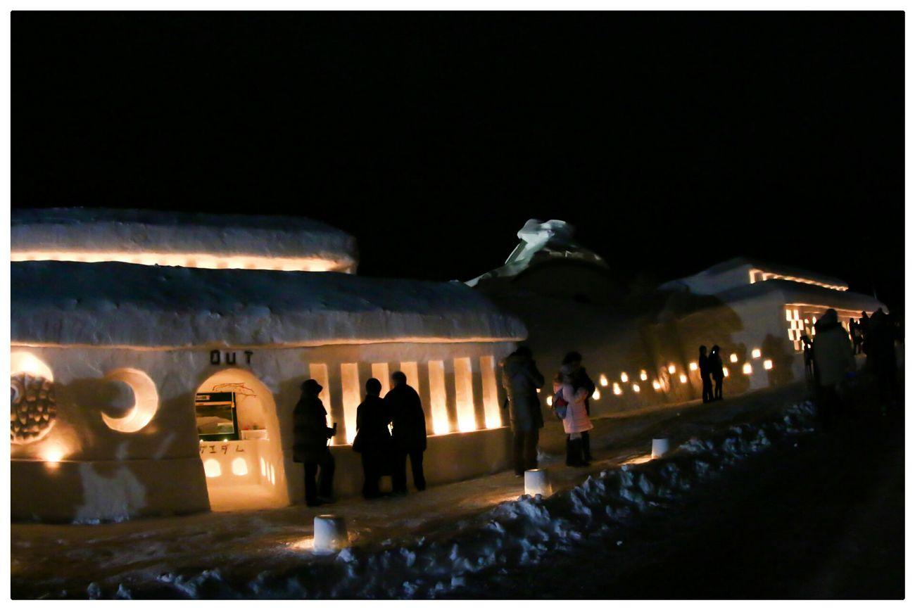 Snowfestival Light And Shadow EyeEm Nature Lover Nature Silhouette Japan YAMAGATA 月山志津温泉雪旅籠の灯り
