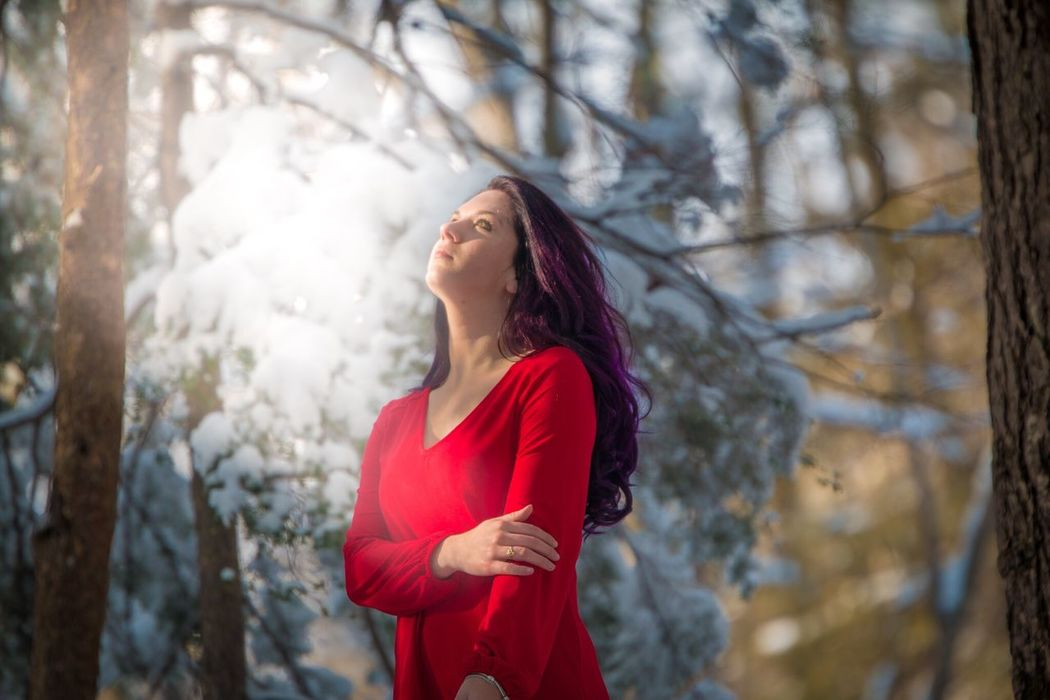 Model: Jamie. Red dress project Beautiful Model #modeling #model Shoot #photo-shoot #model Snow Photo Shoot Gorgeous Purple Hair Bokeh Photography Bokeh New Hampshire Winter New Hampshire Photography Canonphotography
