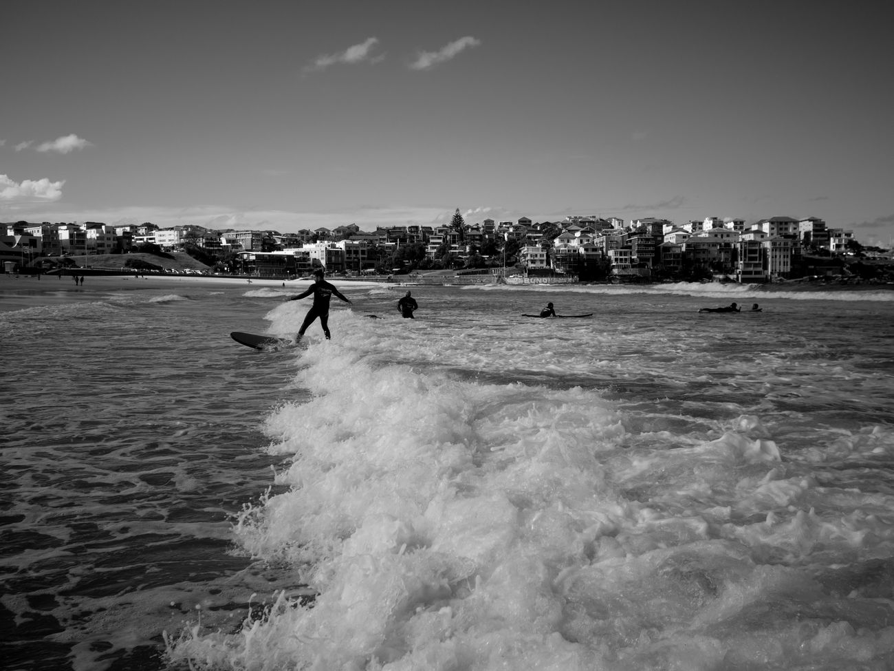 Bondi Beach. Beach Sky Sand Outdoors Sea Sport People Real People Live For The Story Lifestyles Black And White Photography Black And White Monochrome Photography Sydney Maxgor.com Maxgor Rawstreets Leica X Vario Leica Bondi Beach