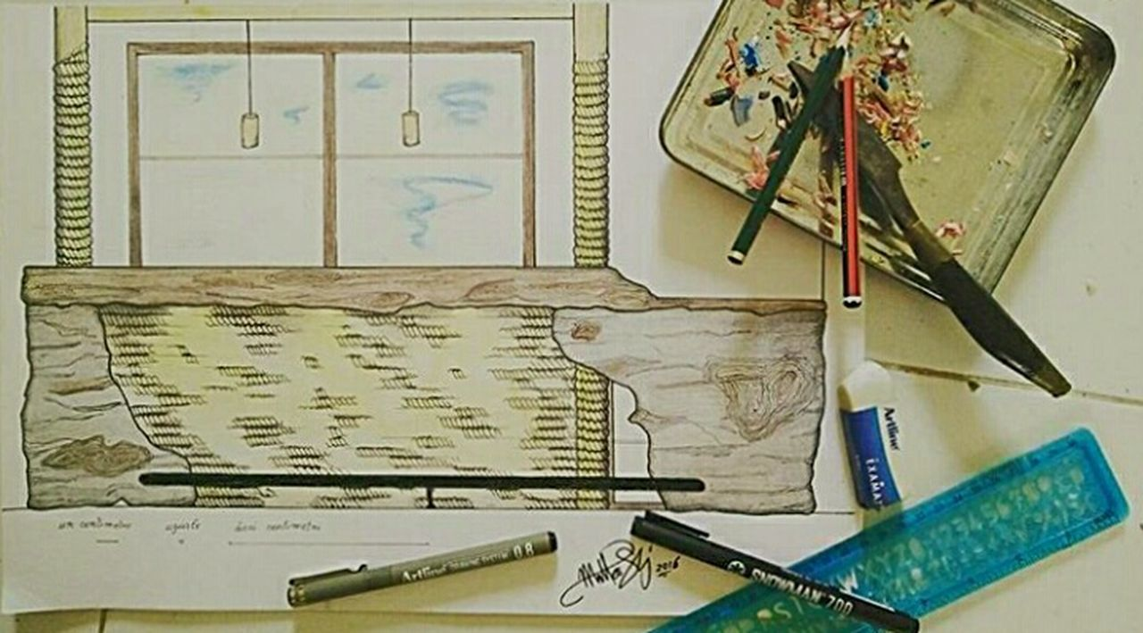 No People Education Indoors  Day Sketch Sketching Crayon Ruler Colors Bar Rope Nature Architecture Yellow Business Knife