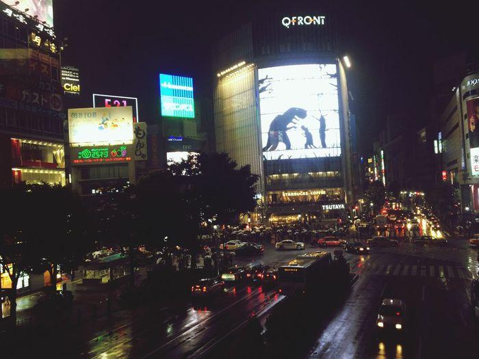 いま仕事おわりましたー! あ!電車に傘忘れたー😭💦 Rainy Night Neon Lights Shibuya Tokyo Night Shibuyacrossing Tokyo Work Is Finished