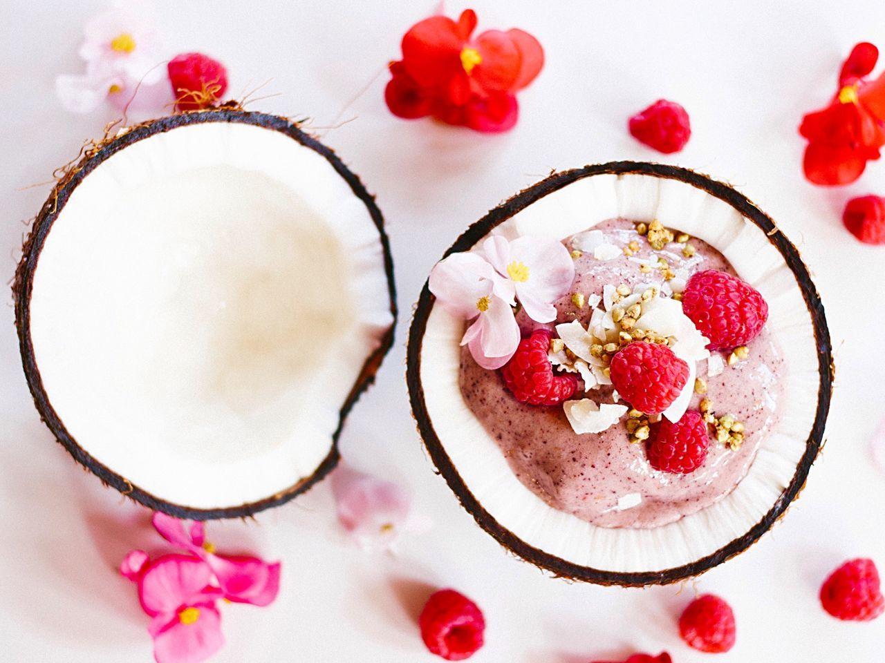 Raspberry Smoothie In Coconut
