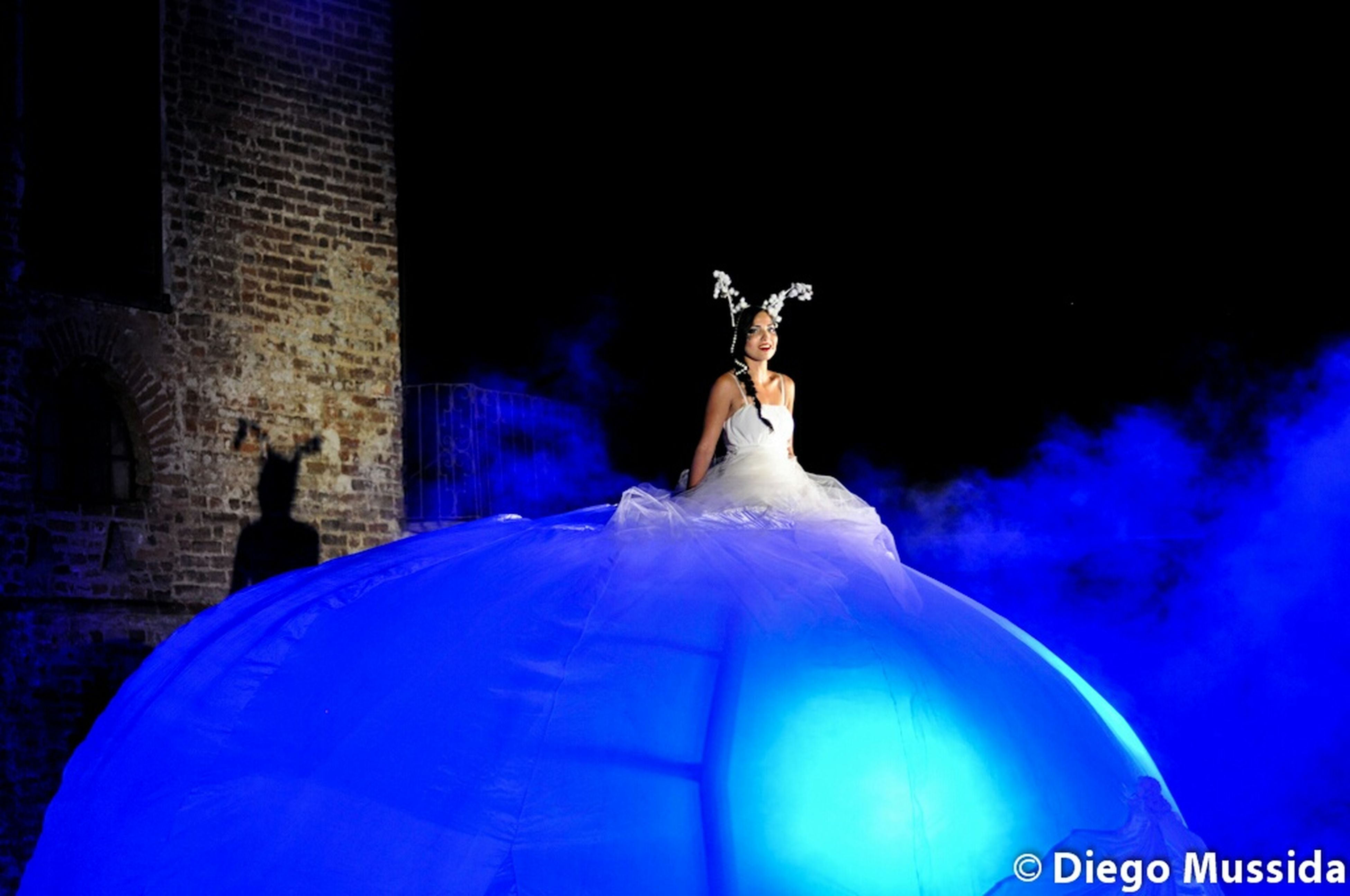 blue, statue, sculpture, art and craft, human representation, art, creativity, low angle view, animal representation, illuminated, night, animal themes, copy space, one animal, no people, wildlife, built structure, animals in the wild