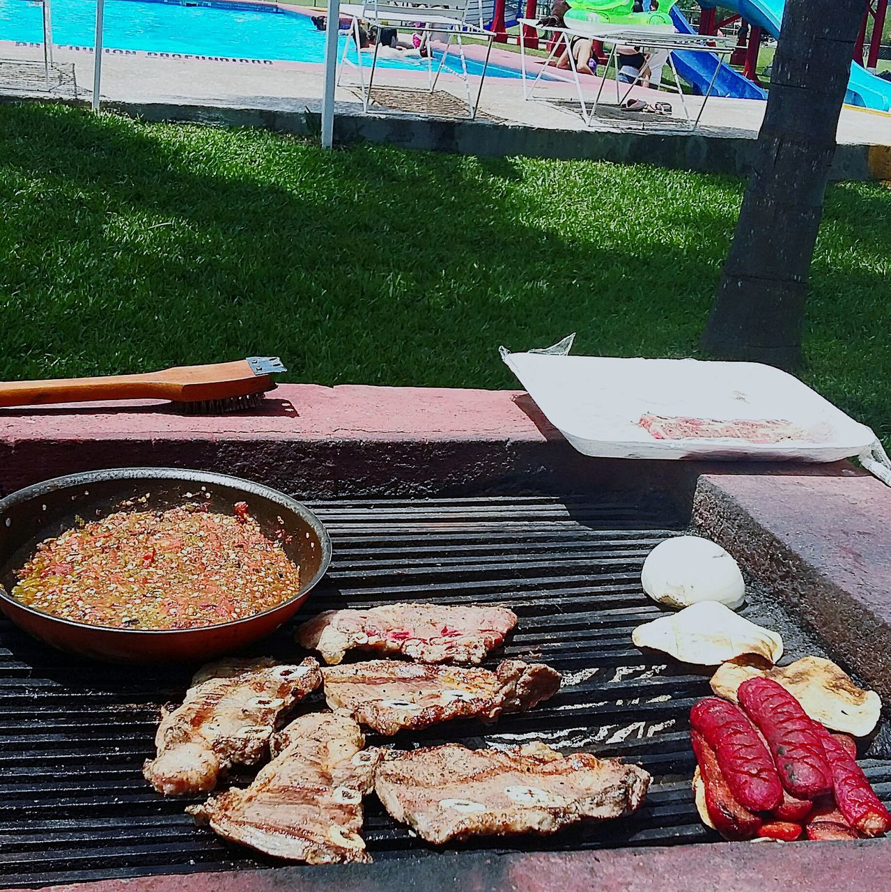 meat, food and drink, food, barbecue, high angle view, day, grilled, outdoors, no people, freshness, ready-to-eat
